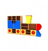 Стеллаж для детского сада паровозик